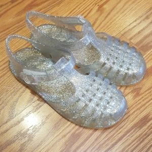 Silver jelly shoes